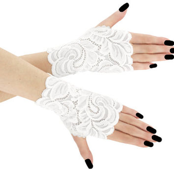 Women's white lace short fingerless mittens of lace fabric for wedding , white womens evening bridal gloves, lolita lace gloves, goth 0H1