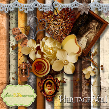 Heritage Vol1 - Digital Scrapbook Kit - Printable Backgrounds - 12x12 inch Papers - FREE Quickpage Layout - including ALPHA - VINTAGE Kit