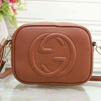 """Gucci"" Trending Women All-match Letter Logo Embossed Single Shoulder Messenger Bag Solid Color Tassel Zip Small Square Bag Brown G"