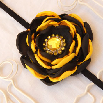 Halloween Bumble Bee Black Yellow Headband Bee Theme Baby Shower Gift Fall Headband Baby Fall Satin Flower Headband Santeen Creations