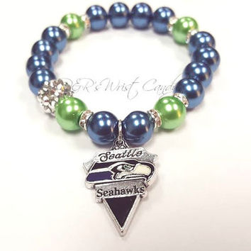 Seattle Seahawks Bracelets, Football Bracelets, NFL,Team Bracelets, Stretchy, Womens Bracelets, Handmade, Cutom