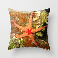 Orange Starfish Throw Pillow by BravuraMedia | Society6