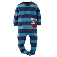 Carter's Fire Truck Striped Microfleece Footed Pajamas - Toddler Boy, Size:
