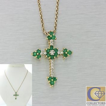 Vtg Estate 14k Yellow Gold .55ctw Green Emerald Diamond Cross Pendant Necklace
