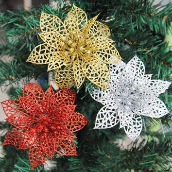 ESBONHS 10pcs Colourful Glitter Artificial Hollow Flowers Wedding Party Christmas Xmas Tree Home Valentine's Day Decorations