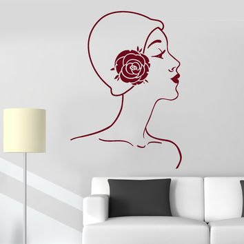 Vinyl Wall Decal Mademoiselle Retro Woman Lady Cloche Hat Stickers Unique Gift (781ig)