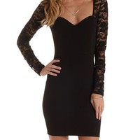 Black Lace-Up & Lace Long Sleeve Dress by Charlotte Russe