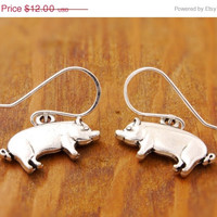 50% OFF - Pig Charm Earring - holiday sale, clearance, pig earring, animal earring, charm earring, black friday