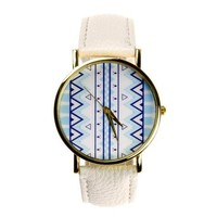 Zlyc Women's Bohemian Pattern Print Quartz Round Face Wrist Watch Color White