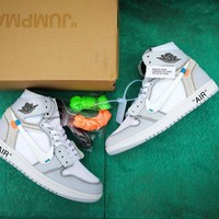 Off White x Air Jordan 1 White/Gray Sneaker Shoe