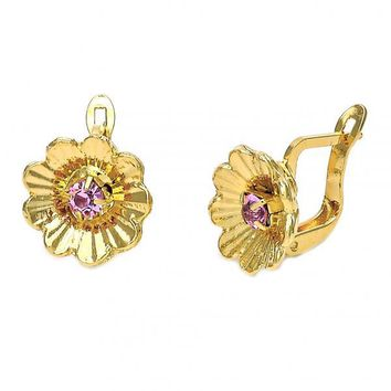 Gold Layered 5.127.050 Leverback Earring, Flower Design, with Light Rhodolite Cubic Zirconia, Diamond Cutting Finish, Gold Tone