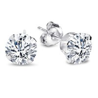 Sterling Silver Cubic Zirconia Clear Round Stud Earrings. 6.50 Mm Each Stone. Includes Sterling Silver Backings. 2.00 Carat Total Weight | AihaZone Store