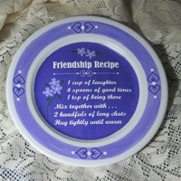 "Friendship Recipe Flowers Hearts Hand Painted OOAK Recycled Upcycled 10"" Plate Art"