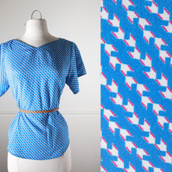80s Chevron Print Top | 80s Blouse 80s Top Boho Chic Avant Garde New Wave 80s Slouchy Top Retro Abstract Geometric Op Art Mod 60s Style Boho