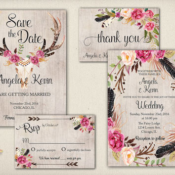 Digital Tribal Save the Date Wedding Invitation Deer Antler Pink Flowers Horns Peony Printable Skull Floral  Wedding Invite - WS026