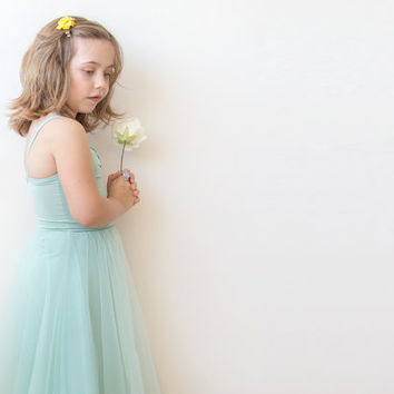 SALE Ballerina tulle dress, Mint flower girl dress