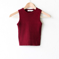 Ribbed Knit Sweater Crop Top - Burgundy