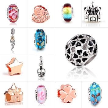 Mix beads glass and Alloy rose gold Bead Round Shape Flower DIY Big Hole Beads Spacer
