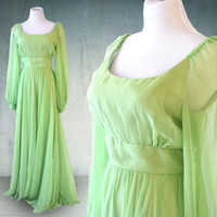 1960s Emma Domb Evening Gown Green Chiffon Plus Size Maxi Dress