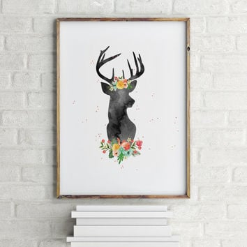 Floral Deer Deer art Home decor Printable poster Deer poster Deer Wall Artwork Room poster Wall art print Instant download Nursery poster