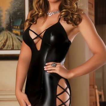 Faux Leather Criss Cross Chemise