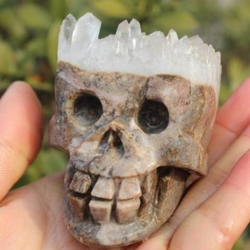 Skull Skulls Halloween Fall 296 grams of natural Tibet clear quartz crystal  specimen cluster   A45 Calavera