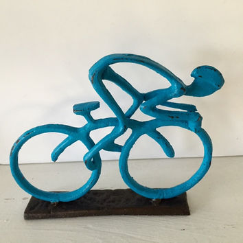 Bicycle display for table top, cast iron, blue distressed