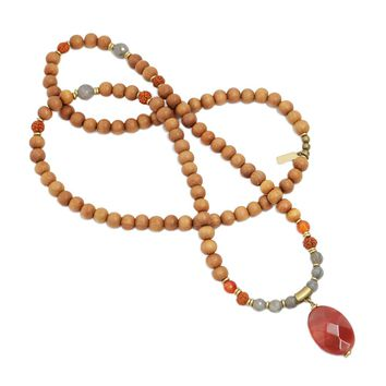 Carnelian and Sandalwood 'Serendipity and Motivation' Mala Necklace