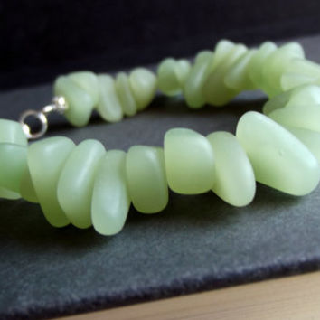 Seafoam Sea Glass Bracelet:  Opaque Green Beach Pebble Bracelet, Chunky Beaded Bracelet, Modern Beach Jewelry