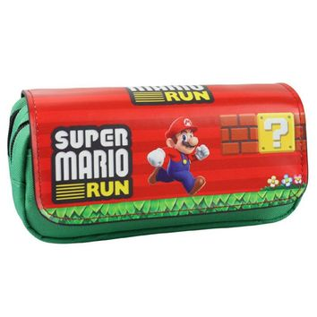 Super Marie Purse Super Mario Pen Pencil Bags Kids Cartoon Parkour Multifunctional Double Zipper Cosmetic Bags CasesKawaii Pokemon go  AT_89_9