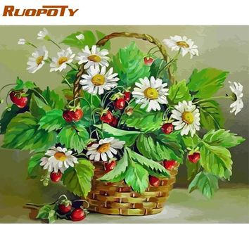 RUOPOTY Frame Picture Flowers DIY Painting By Numbers Modern Wall Art Acrylic Canvas Painting Handpainted For Home Decor 40x50cm