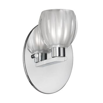 Dainolite 1 Light Bathroom Floral Wall Sconce with Clear Frosted Glass and Polished Chrome Finish