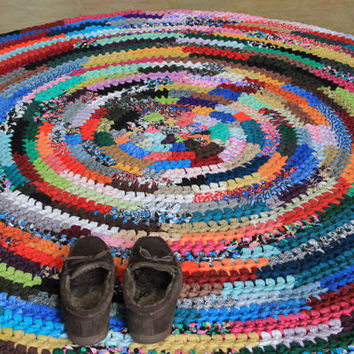 Large Round Crochet Rag Rug Multi Color Area Rug 6 Feet Diameter Rag Carpet Ready to Ship NOW!