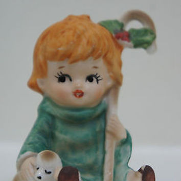 "Rare Lefton China Hand Painted 1950's ""Boy with Lamb"" Figurine Made in Japan"