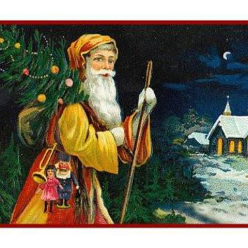 Victorian Father Christmas Santa with a Tree Church at Night Counted Cross Stitch or Counted Needlepoint Pattern