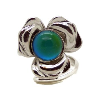 8mm Round Bezel Tray Big Flower 925 Sterling Silver Mood Ring, adjustable