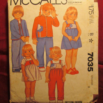 SALE Uncut 1980 McCall's Sewing Pattern, 7035! Size 2 Toddler/Kids/Child/Girls/Boys/Jackets/Jumper Sundresses/Overalls/Appliques/Stand up Co