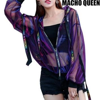 CUPUP9G Summer Rave Festival Wear Clothes Holographic Womens Hoodies Outfits Hologram Women Rainbow Metal Mesh Jacket Clothings