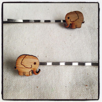 Bobby Pins Hair Pins - Eco friendly laser cut wooden elephants by One Happy Leaf