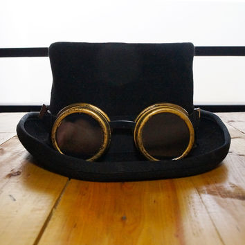 Steam Punk Steampunk Top Hat , Women Victorian Vintage Wool Gear Fedoras hat Millinery Hand Made +