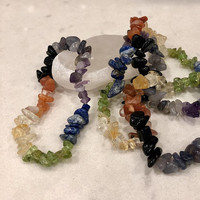 "SALE**SALE**Seven Layer Chakra Gemstone Chip Bracelet 7""-7.5""  (One)  Free Bag & Affirmation Card.  FREE Shipping with another item."
