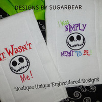 BURP CLOTHS Jack Skellington SIMPLY MEaNT To Be CUSToM  Adorable UNiSEX BaBY Nursery Shower GiFT UNiQUE Designs by Sugarbear