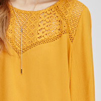 Textured Crochet-Paneled Top