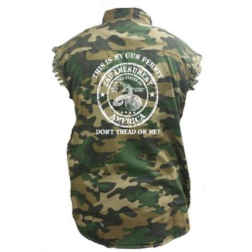 Men's Camo Sleeveless Denim Shirt This Is My Gun Permit, Dont Tread On Me Denim Vest