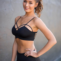 Best Shot Cut Out Strappy Back Bralette (Black)