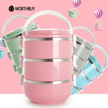 WORTHBUY Stainless Steel Japanese Lunch Box Food Containers Colorful Bento