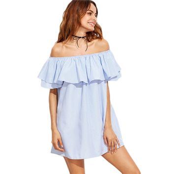 Off The Shoulder Ruffle Blue Striped Short Sleeve Casual Mini Dress