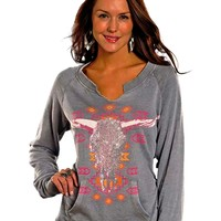 Rock & Roll Cowgirl Steer Skull Sweatshirt