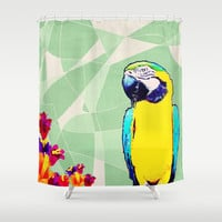 Parrot in Paradise Shower Curtain by Bunhugger Design
