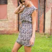 Fight For What Patterns Dress, Ivory-Navy